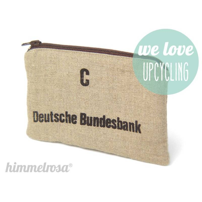 Geldsack Tasche, aus echtem Münzsack, C, Reißverschlusstasche, Upcycling, kleine Tasche von himmelrosa Bild 1