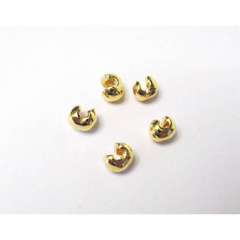 2 Kaschierperlen, Kalotten 4 mm Silber 925 vergoldet, Endkappen, Verdeckperle für Quetschperlen Bild 1