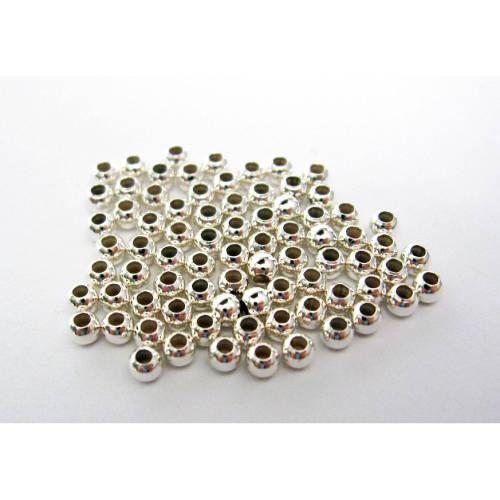 50 Quetschperlen 2,5 mm aus 925er Sterling Silber