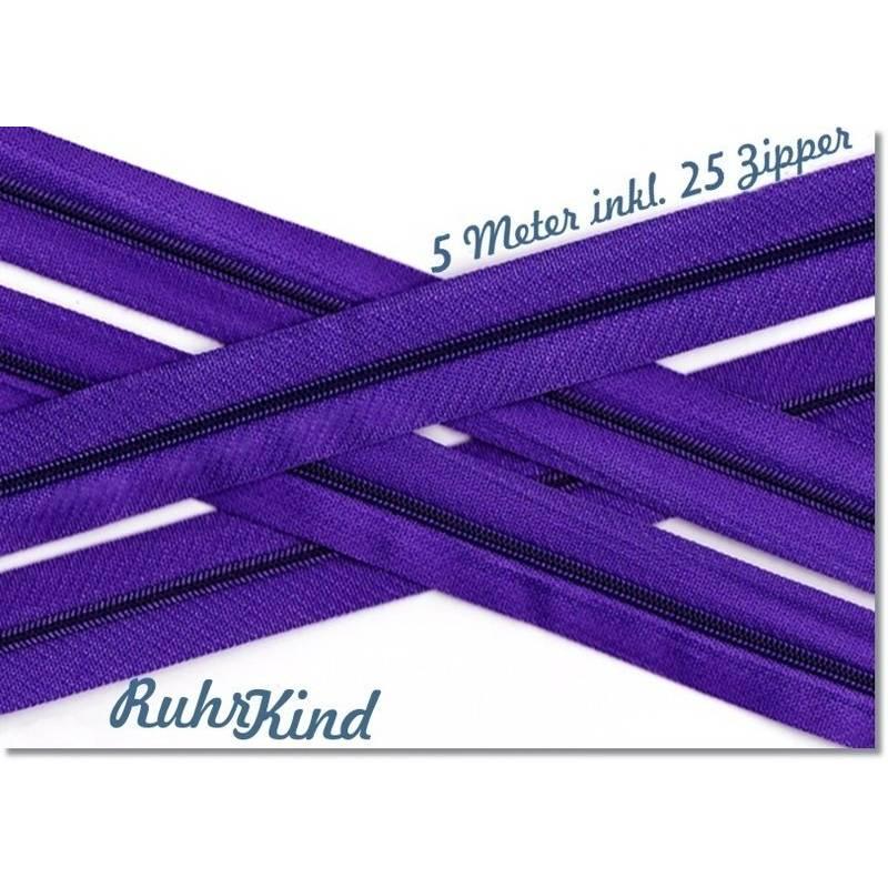 5m Endlosreißverschluss 3mm +25 Zipper Lila Bild 1