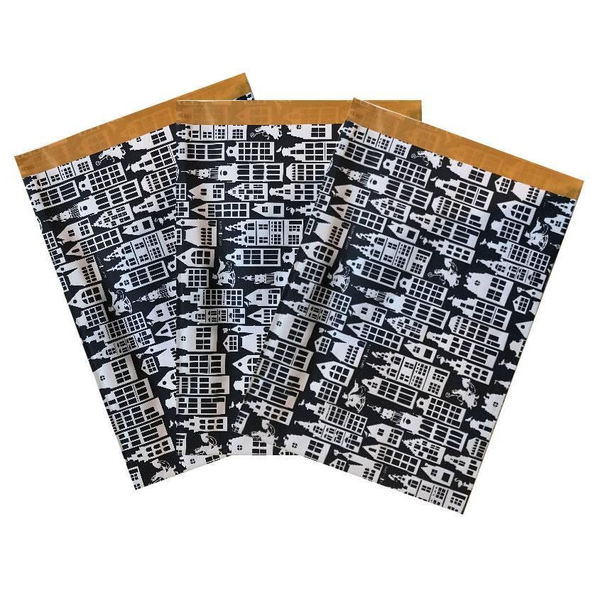 10 Papiertüten  XL  23x32 cm Häuser schwarz Bild 1