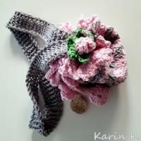 Tasche Häkelbeutel in Rosa und Grau Fantasiemuster mit 90 cm Trageband im Romantik- Look Bild 2