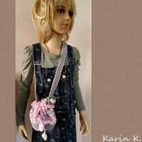 Tasche Häkelbeutel in Rosa und Grau Fantasiemuster mit 90 cm Trageband im Romantik- Look Bild 8