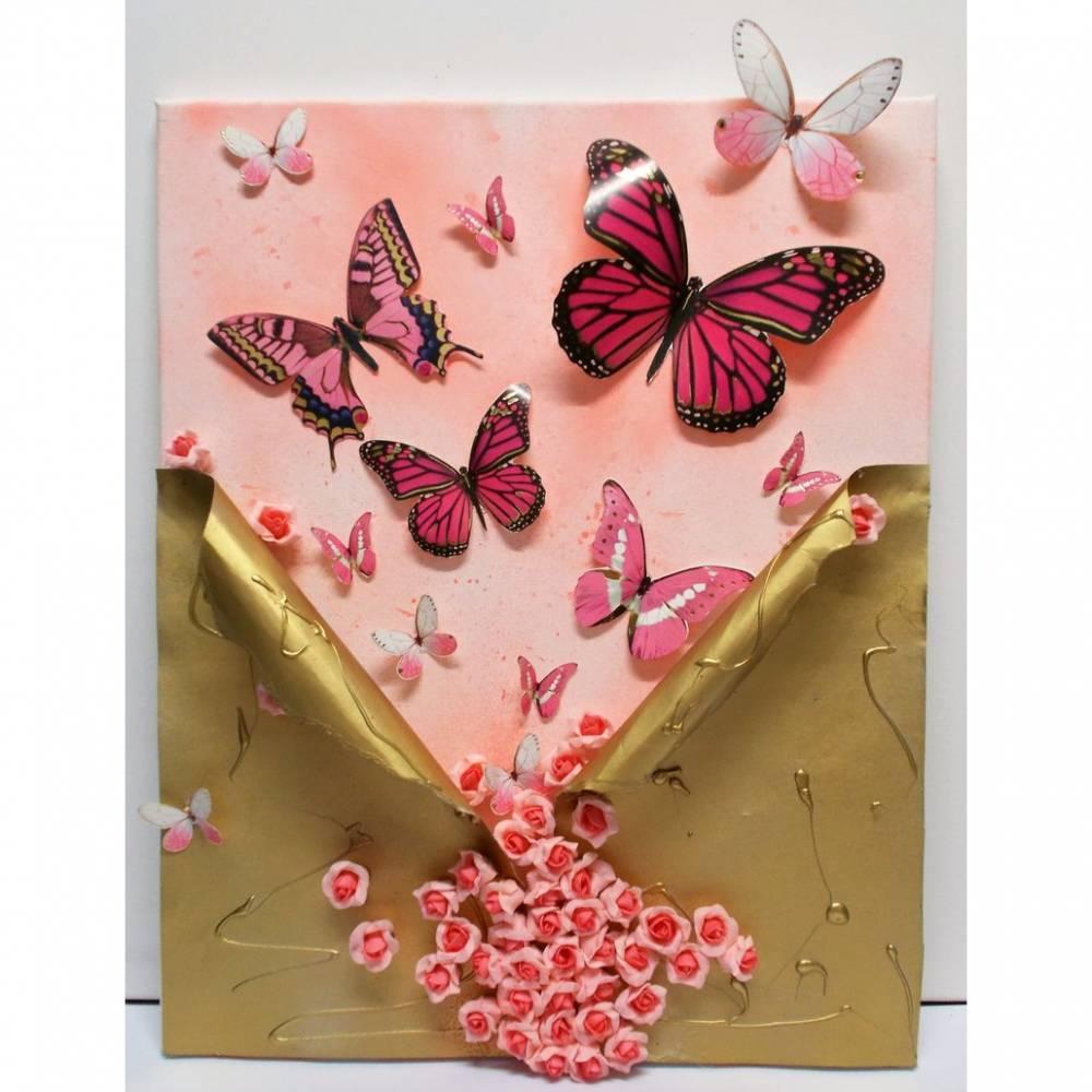 Bild, Collage, Wandbild, Schmetterlinge, Mixed Media, rosa gold Bild 1