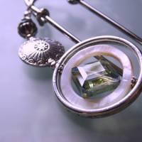 Kiltnadel Kristall im Perlmutt Ring  XXL silberne Tuchnadel  Bild 2