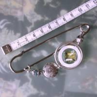 Kiltnadel Kristall im Perlmutt Ring  XXL silberne Tuchnadel  Bild 3