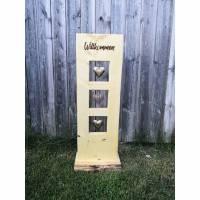 Holz Stele aus Fichtenholz mit eingebrannter Schrift *Bald wieder bestellbar* Bild 1