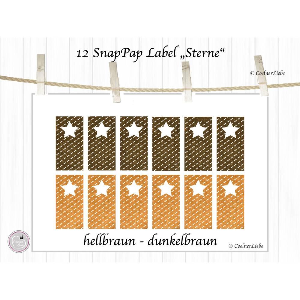 12 Aufnäher und Labels aus SnapPap, hellbraun und dunkelbraun Bild 1