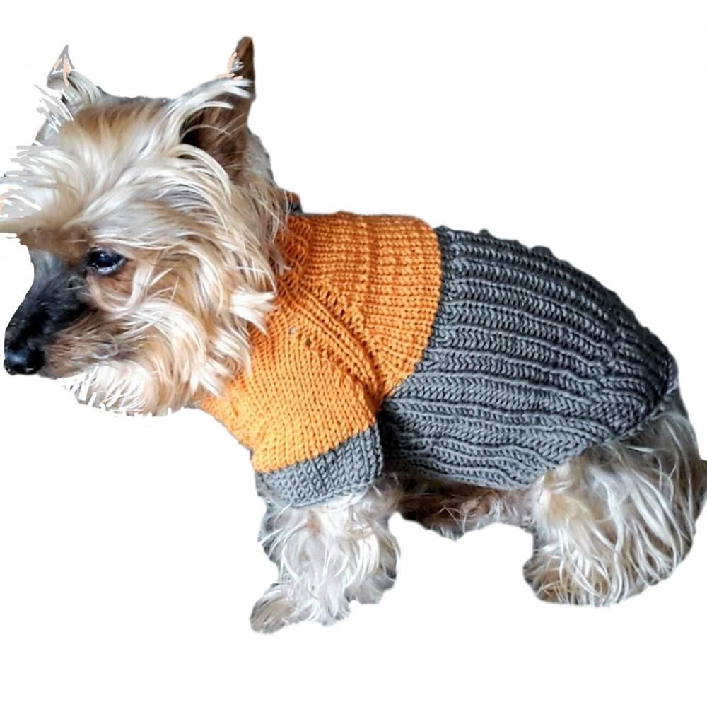Hundepulli Hunde- Pullover Lachsorange Taupe Colorblocking gestrickt für einen kleinen Hund Kuschelwolle Lana Grossa Bild 1