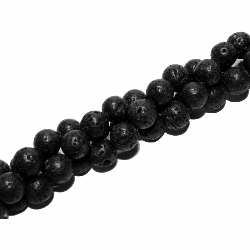 1 Strang Lava Perlen, gewachst, 4, 6, 8 oder 10 mm Bild 1