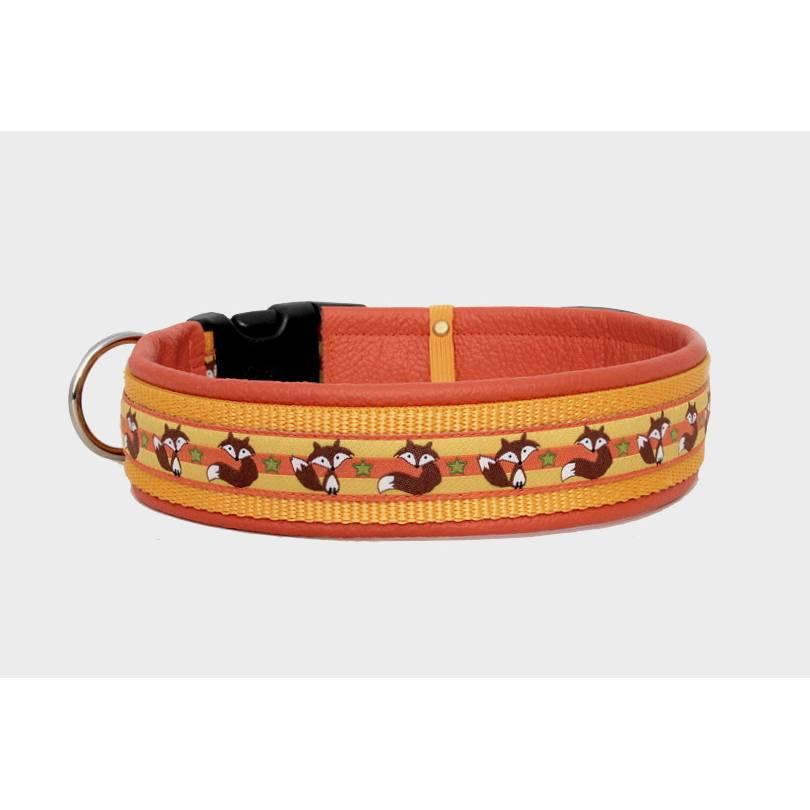 Hundehalsband »Fuchs« mit echtem Leder unterlegt aus der Halsbandmanufaktur von dogs & paw Bild 1
