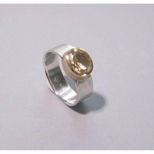 breiter Ring Gr. 62 aus Silber 925 und hellgelbem Citrin