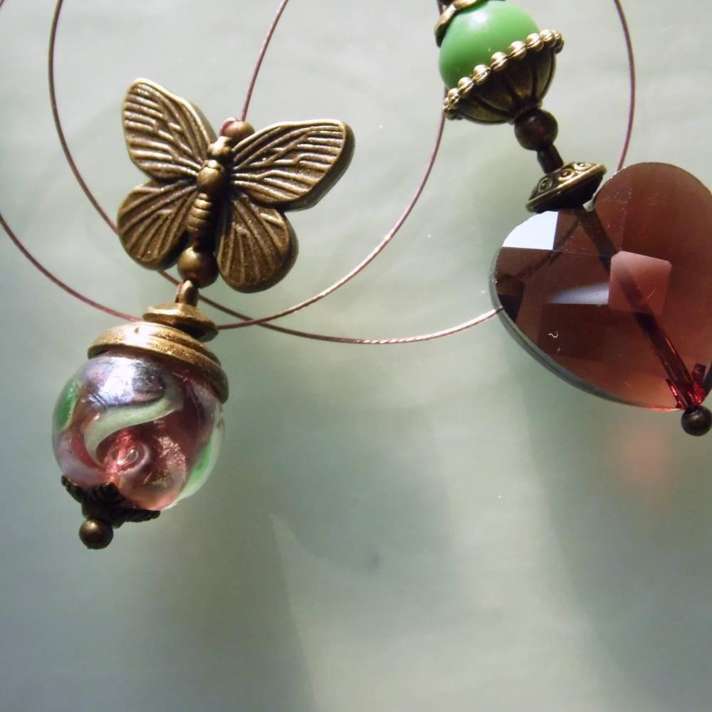 Bronze Lesezeichen Schmetterling mit Blüten und Herz Bild 1