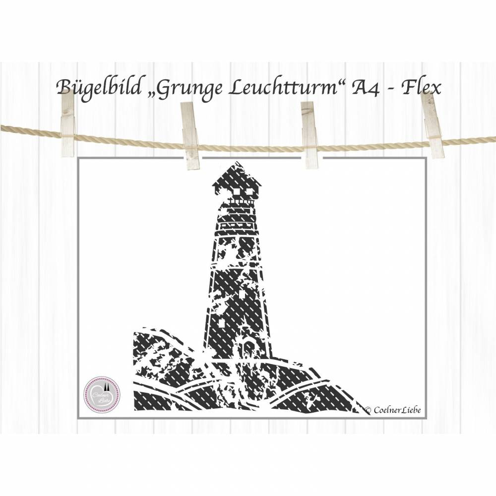 maritimes Bügelbild Leuchtturm, Grunge Look, Shabby Bild 1