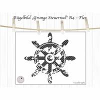 maritimes Bügelbild  Steuerrad, Grunge Look, Shabby Bild 1