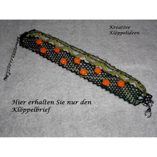 Klöppelbrief für das Armband mit Blütenperlen und Formschlagblättern