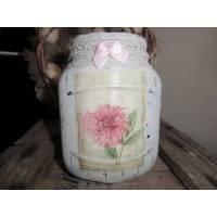Windlicht  /  Vase im Shabby Chic Charme Recycling Upcycling Bild 1