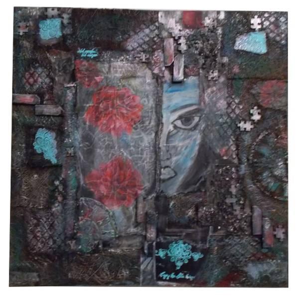 Bild, Mixed Media Bild, Collage, schwarz, blau, modern, abstrakt Bild 1