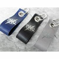 Schlüsselanhänger Kompass Wunschtext / Koordinaten aus Leder Bild 1