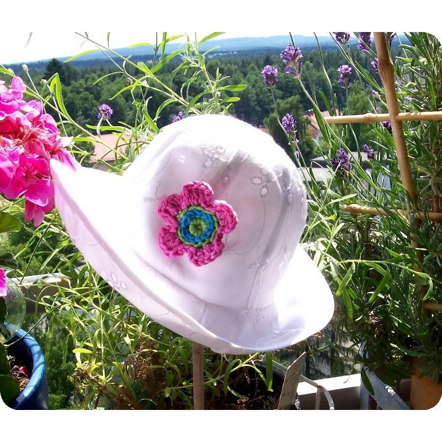 Sommerhut,  Spitzenhut weiß, Sonnenhut, Kinderhut, Sommerhut für Kinder, Sonnenhut für Mädchen, weißer Spitzenhut Bild 1