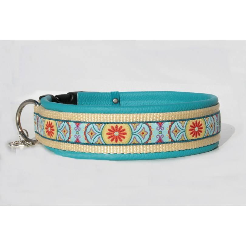 Hundehalsband »Eastwind« türkis mit echtem Leder unterlegt aus der Halsbandmanufaktur von dogs & paw Bild 1