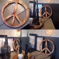 Peace-Zeichen angeflammt aus Holz, verschiedene Größen wählbar!  Bild 1
