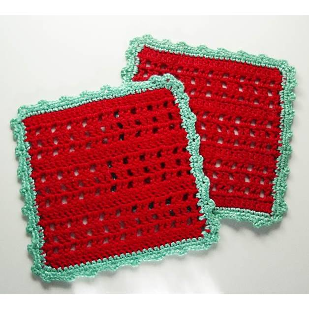 Topflappen gehäkelt rot mintgrün Spitzenrand Küche quadratisch Retro Vintage 70er Geschirrtuch shabby Landhausstil crocheted pot cloth towel Bild 1