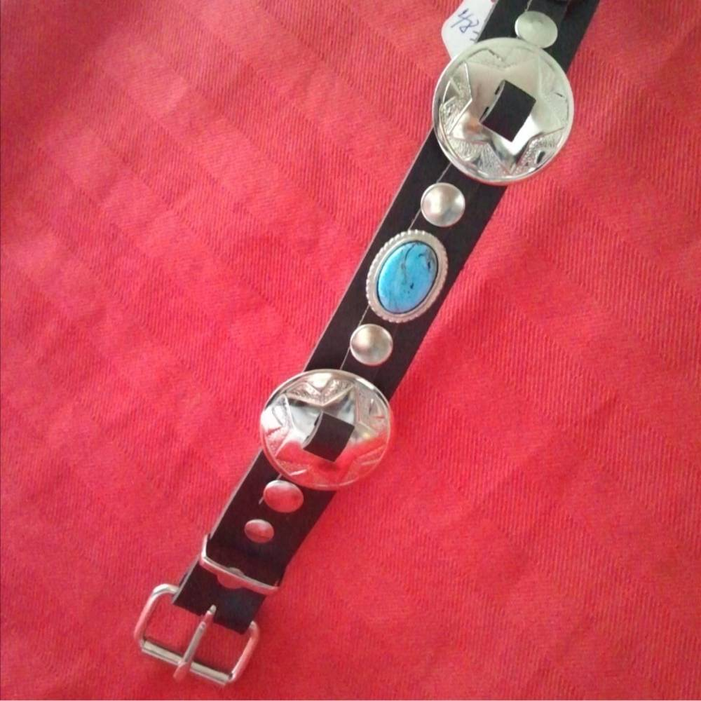 Hundehalsband schwarz, Country-Stil,  Vollrindleder mit Concha und Nieten ( HH 14) Bild 1