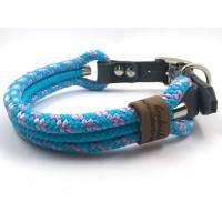 Hundehalsband türkis, flieder, verstellbar, für Halsumfang von 34-43 cm  Bild 1