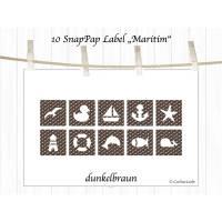 10 maritime Aufnäher und Labels aus SnapPap, dunkelbraun Bild 1