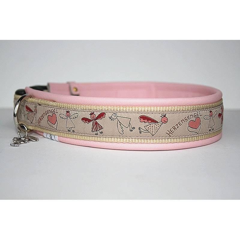 Hundehalsband »Herzensengel« rosa mit echtem Leder unterlegt aus der Halsbandmanufaktur von dogs & paw Bild 1