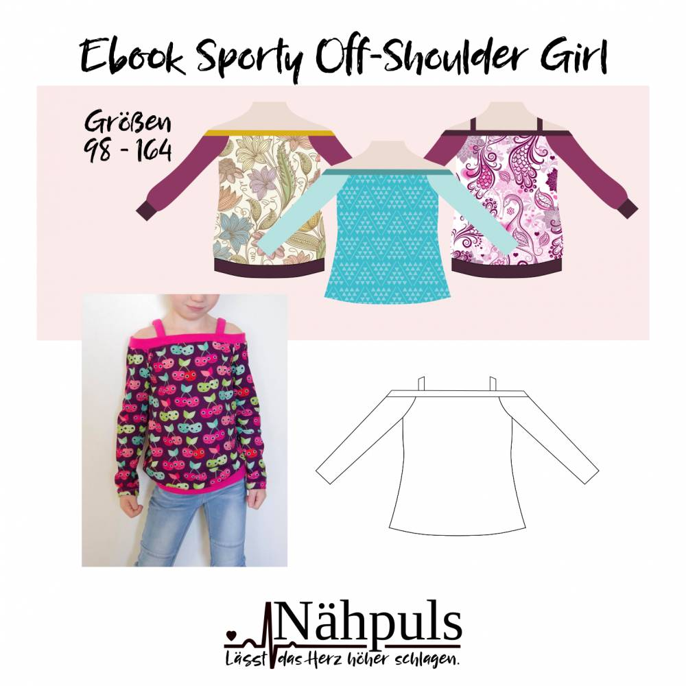 Ebook Sporty Off-Shoulder Girl Gr. 98 - 164 Bild 1