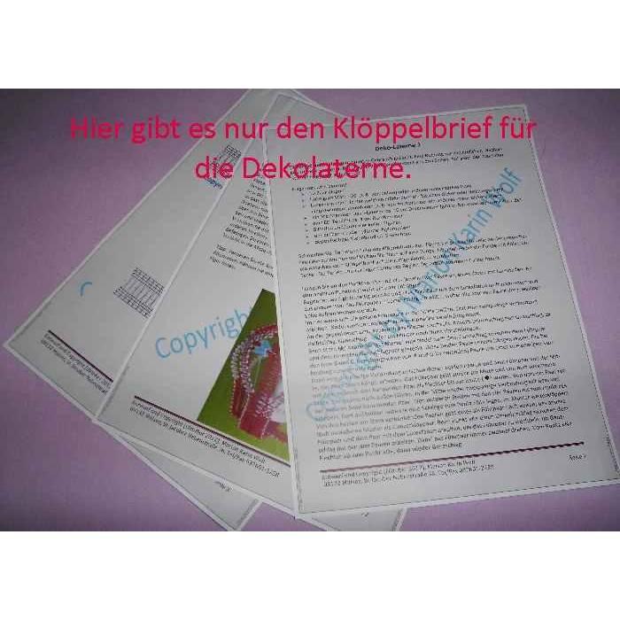 Klöppelbrief für die Dekolaterne mit oder ohne Laternenrahmen  Bild 1