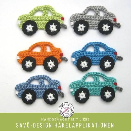 Auto Häkelapplikationen zum Aufnähen, Fahrzeug Aufnäher für Jungen in Wunschfarbe