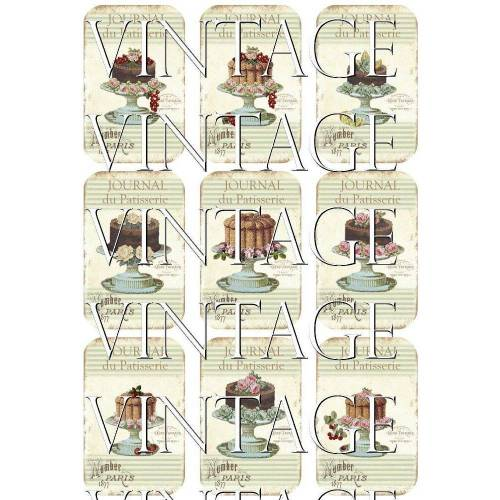 A4 Motivbogen ~Papieraufkleber~ PATISSERIE ~TORTEN ~Vintage~Shabby ~ BAD ~ No.76