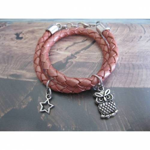 Kinderarmband, Mädchen Lederarmband rosa, mit Anhänger Eule und Stern