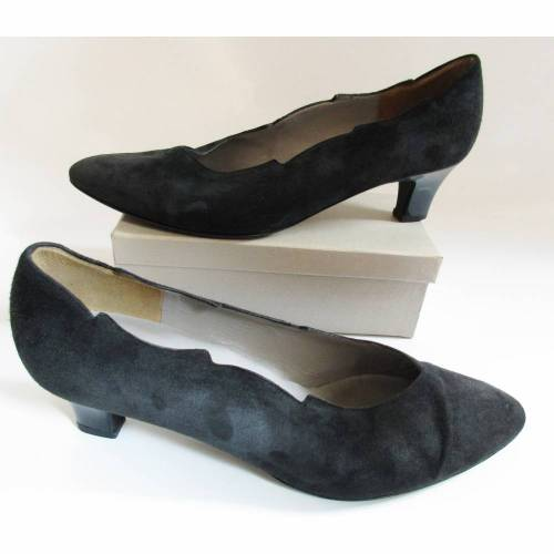True Vintage 80er Wildleder Pumps Gabor fashion Größe 7 40 41 Schwarz Zipfel Zacken Flammen Spitze Gothik Schuhe Nubuk
