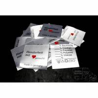 25 Textiletiketten Universal - Handarbeit mit Herz gemacht - 30 Grad
