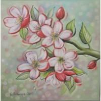 "Acrylgemälde ""Apfelblüten"" - Kunst Bild Frühling Original Gemalt 50cmx50cm Bild 1"