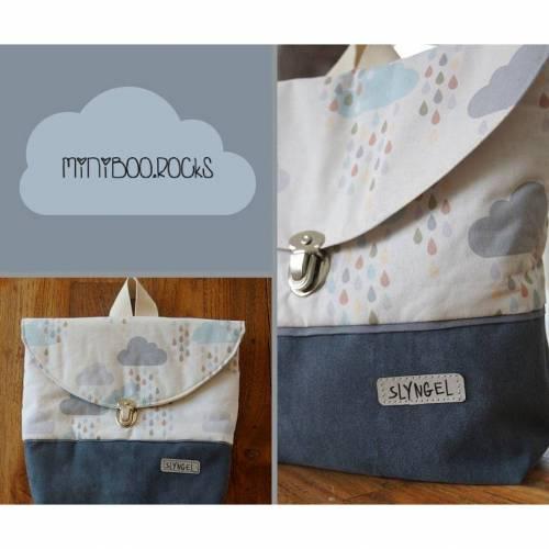 Kinderrucksack mit Namen, Kindergartenrucksack, Kindergartentasche, Geschenk für Jungen oder Mädchen, Rucksack mit Wolken, Wildlederimitat