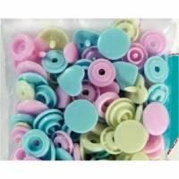 Prym Color Snaps Mix Herzchen Herzen Pastell rose hellblau Bild 1