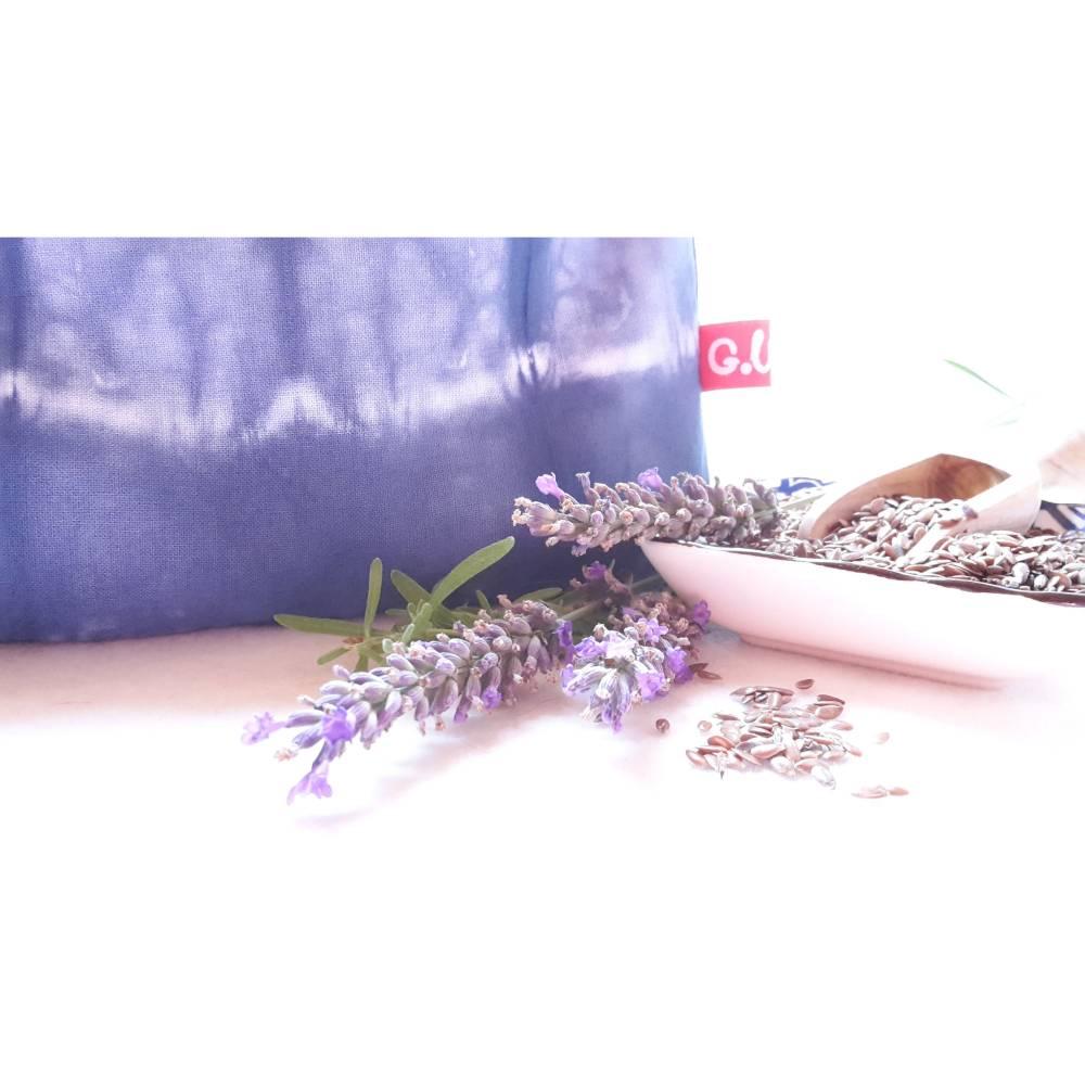 Augenkissen, Entspannung, Meditation, Wellness, Lavendel, Leinsamen, Wellbeing, Shibori, Blau Bild 1