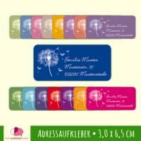 24 Adressaufkleber   Pusteblume - eckig 3,0 x 6,5 cm