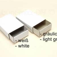 25 Mini-Schachteln Geschenkverpackung Basteln DIY, Adventskalender Schachteln, weiß, Mini Schiebeschachtel Bild 2