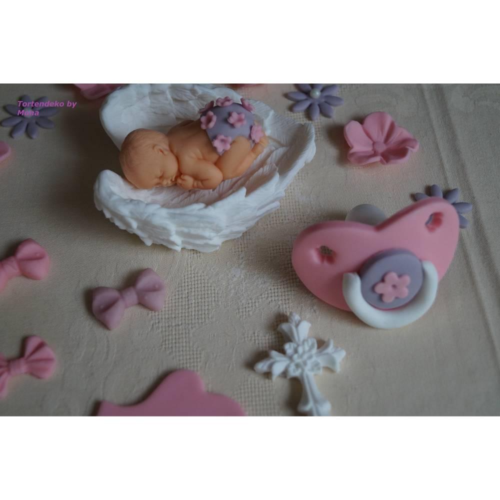 Tortenaufleger Fondant Zuckerfigur Geburt , Taufe Tortendeko  Bild 1