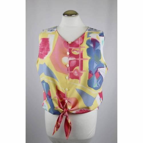 Vintage 80er Jahre Cropped Top Bluse Kurzbluse Größe S 36 38 Knotenbluse Graffiti Bunt Blau Pink Gelb Rosa Zipfel