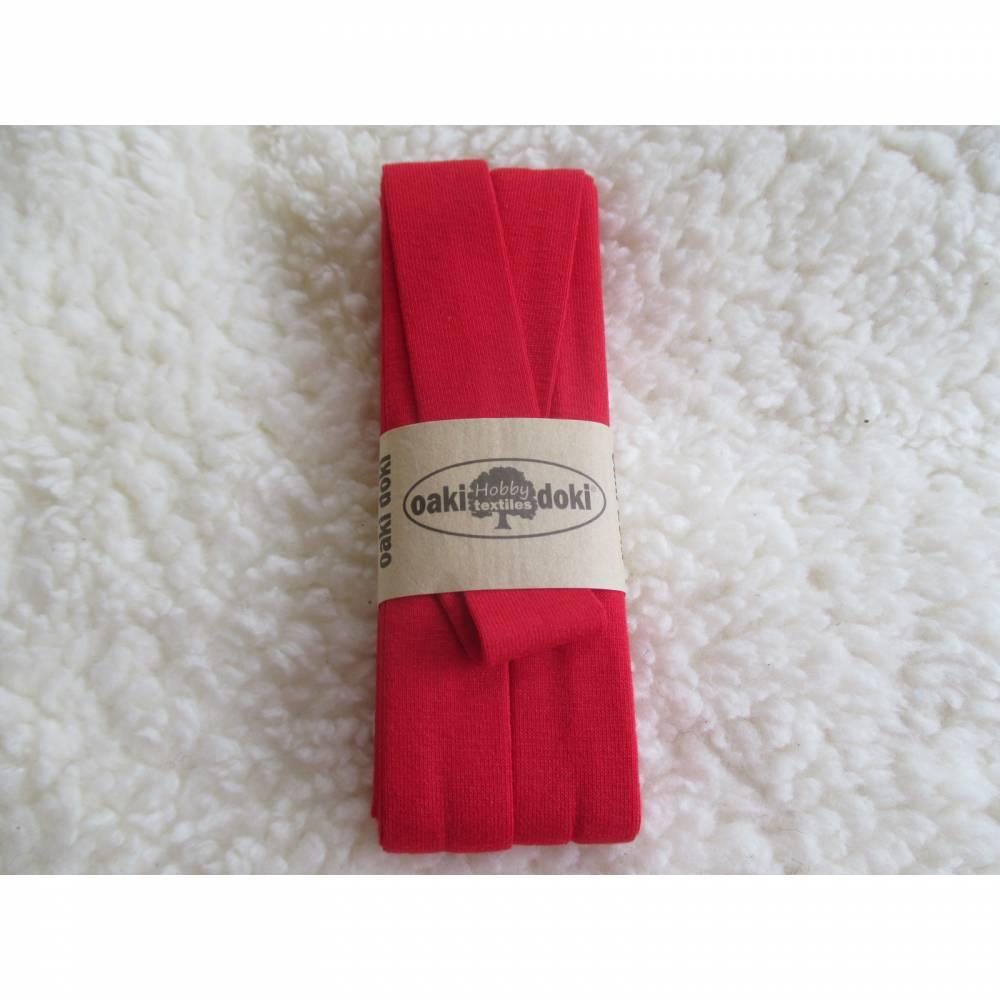 """3 m Jersey -Schrägband aus Viskose """"oaki doki"""" signalrot, uni gef. 40/20mm  (1m/1,17 €) Bild 1"""