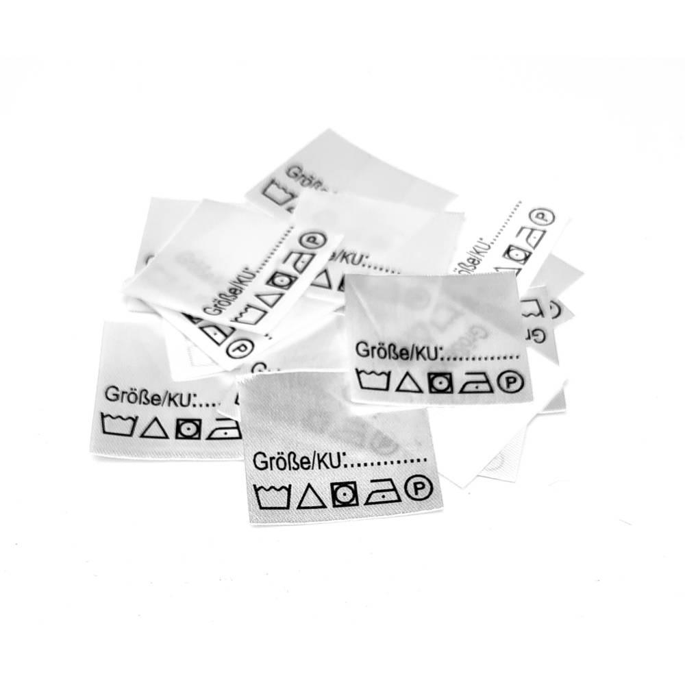 25 Textiletiketten Größe ____ zum selber ausfüllen mit Pflegesymbole Bild 1