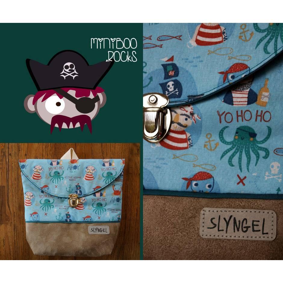 Kinderrucksack mit Namen, Kindergartenrucksack, Kindergartentasche, Geburtstagsgeschenk für Jungen, Kinderrucksack mit Piraten und Kraken Bild 1
