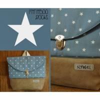 Kinderrucksack mit Namen, Kindergartenrucksack, Kindergartentasche, Geschenke für Jungen, Rucksack mit Sternen, personalisierbar, staubblau Bild 1